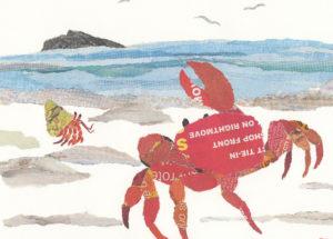 Crab on the Shore Chigiri-e Greeting Card
