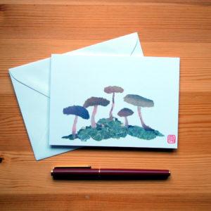 Mushroom Chigiri-e Greeting Card