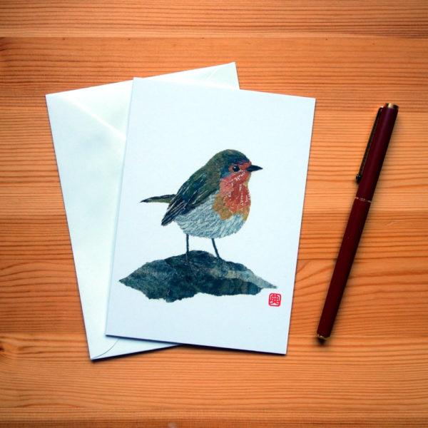 Robin Chigiri-e greeting card by Japanese artist Noriko Matsubara