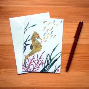 Seahorses Chigiri-e Greeting Card