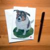 Perie (Dog) in the Field Chigiri-e greeting card by Japanese artist Noriko Matsubara