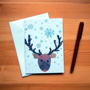 Reindeer Chigiri-e Christmas Card
