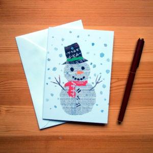 Snowman Chigiri-e Christmas Card