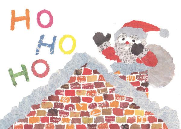Santa Clause Chigiri-e Christmas card by Japanese artist Noriko Matsubara