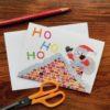 Ho Ho Ho Chigiri-e Christmas card by Japanese artist Noriko Matsubara