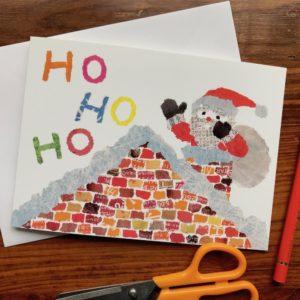 Xmas Ho Ho Ho Chigiri-e Card (M)