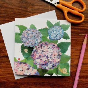 Hydrangeas and Snails Chigiri-e Card (S)