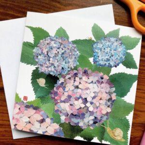Hydrangeas and Snails Chigiri-e Card