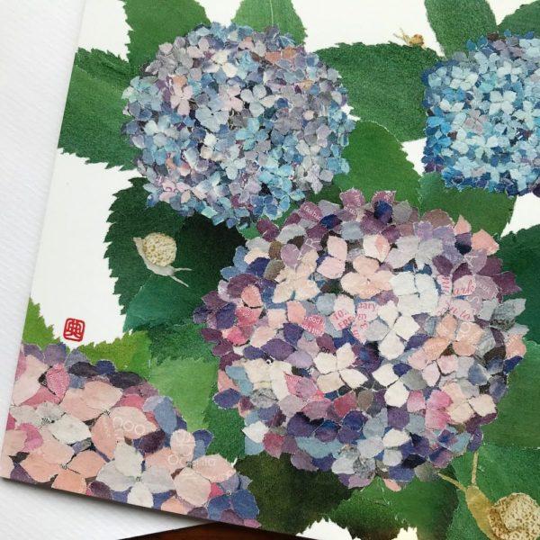 Hydrangeas and Snails Chigiri-e greeting card by Japanese artist Noriko Matsubara