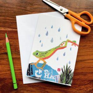Jumping Frog Chigiri-e Card