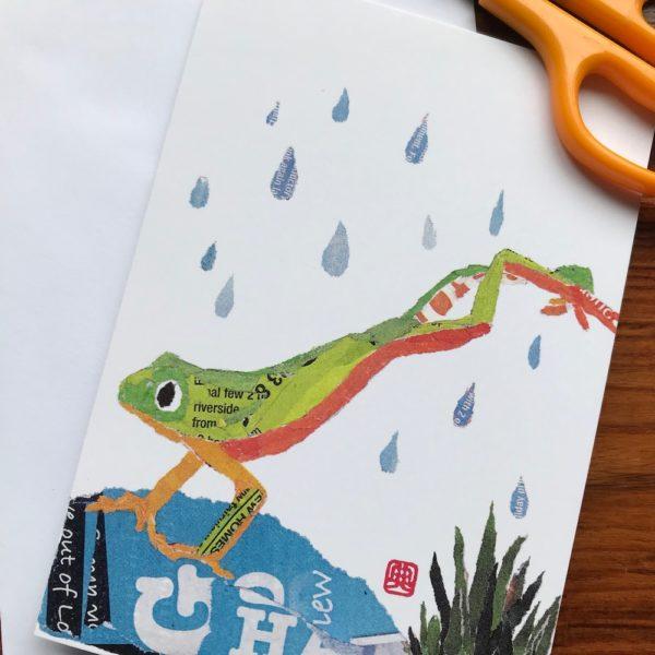 Jumping Frog Chigiri-e greeting card by Japanese artist Noriko Matsubara
