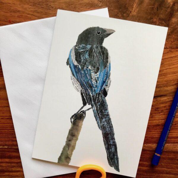 Magpie Chigiri-e greeting card by Japanese artist Noriko Matsubara