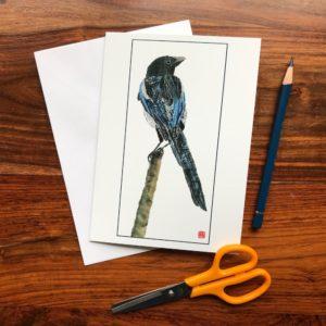 Magpie Chigiri-e Card (M)