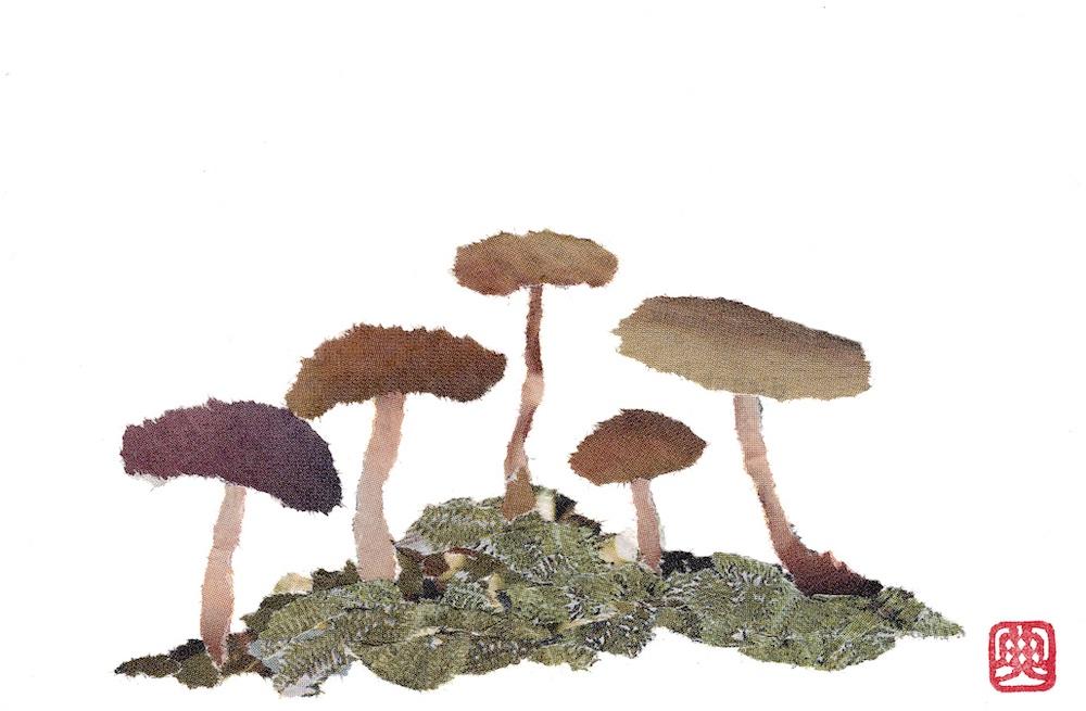 Chigiri-e Japanese Paper Collage Mushrooms