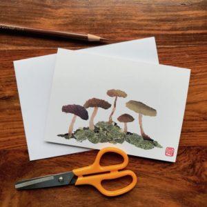 Mushrooms Chigiri-e Card (S)
