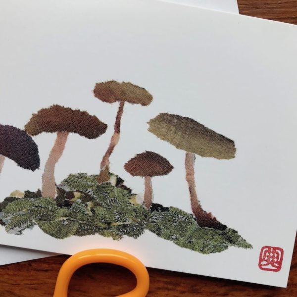 Mushrooms Chigiri-e greeting card by Japanese artist Noriko Matsubara