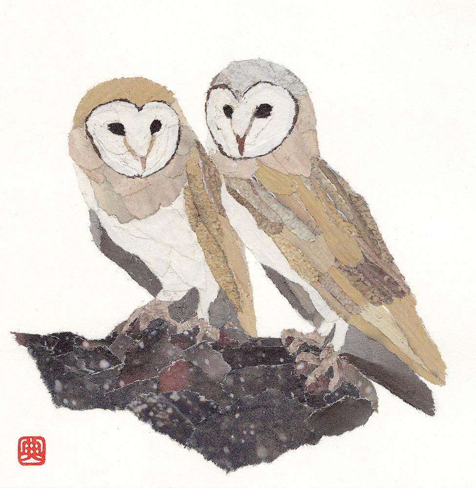 Chigiri-e Japanese Paper Collage Owls
