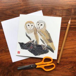 Owls Chigiri-e Card (M)