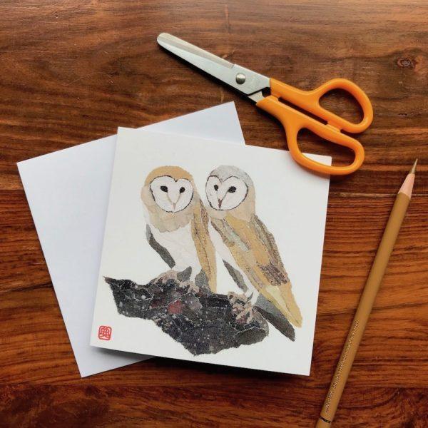 Owls Chigiri-e greeting card by Japanese artist Noriko Matsubara
