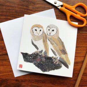 Owls Chigiri-e Card