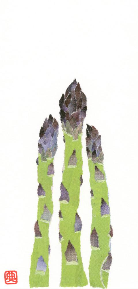 Asparagus Chigiri-e Art print by Japanese artist Noriko Matsubara