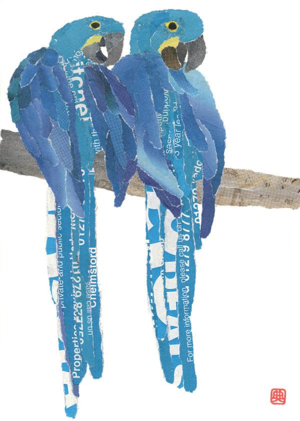 Blue Parrots Chigiri-e Art print by Japanese artist Noriko Matsubara