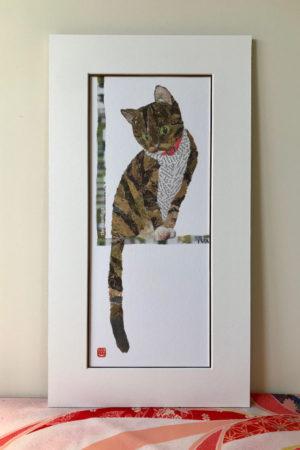 Cat by the Window Chigiri-e Print