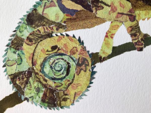 Chameleon Chigiri-e Art print by Japanese artist Noriko Matsubara