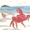 Crab on the Shore Chigiri-e Art print by Japanese artist Noriko Matsubara
