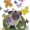 Dog with Butterflies (Pugsy) Chigiri-e Art print by Japanese artist Noriko Matsubara
