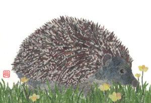 Hedgehog Chigiri-e Print
