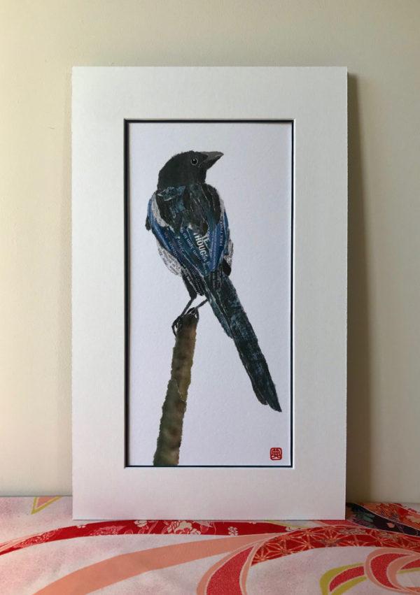 Magpie Chigiri-e Art print by Japanese artist Noriko Matsubara