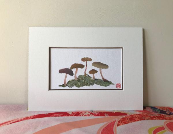 Mushrooms Chigiri-e Art print by Japanese artist Noriko Matsubara