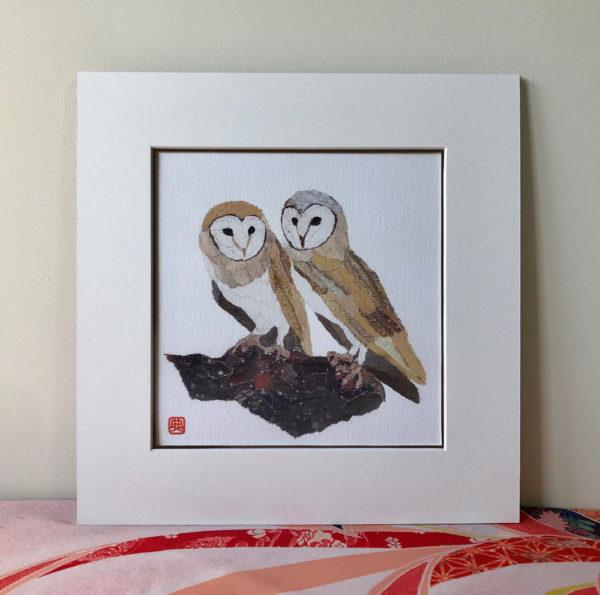 Owls chigiri-e Art Print by Japanese artist Noriko Matsubara