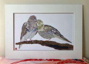 Pigeons Chigiri-e Print
