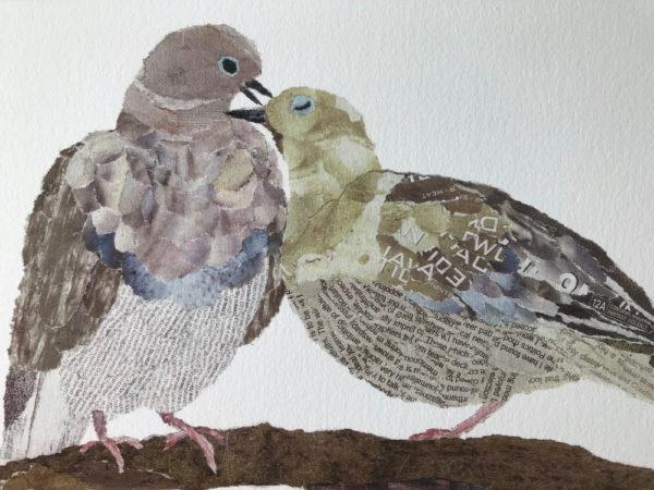 Pigeons Chigiri-e Art print by Japanese artist Noriko Matsubara