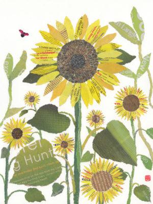 Sunflowers Chigiri-e Print