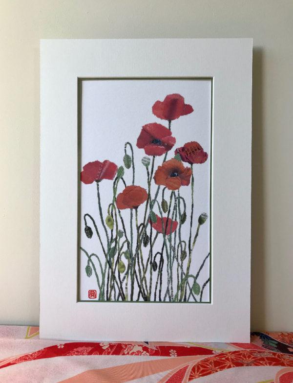 Poppies Chigiri-e Art print by Japanese artist Noriko Matsubara