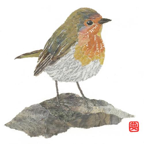 Chigiri-e Robin Giclee Print by Noriko Matsubara