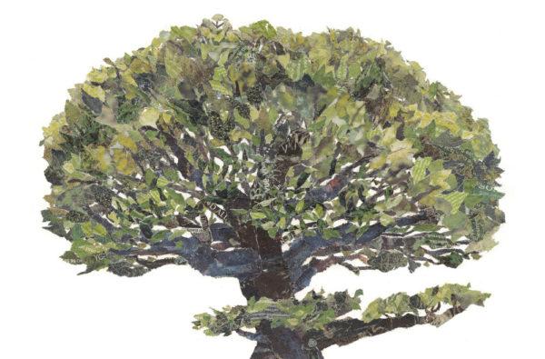 Tree Chigiri-e Art print by Japanese artist Noriko Matsubara