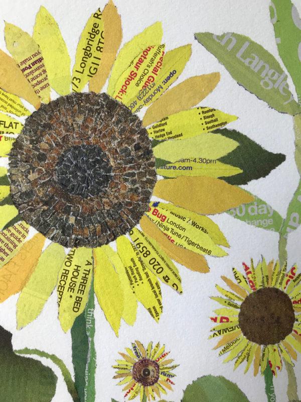 Sunflowers Chigiri-e Art print by Japanese artist Noriko Matsubara