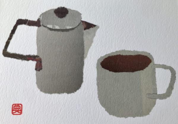 Teapot and Cup Chigiri-e Art print by Japanese artist Noriko Matsubara