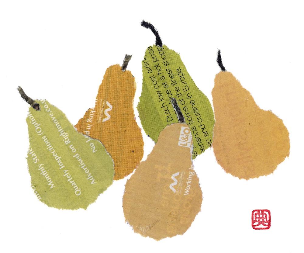 Chigiri-e Japanese Paper Collage Pears
