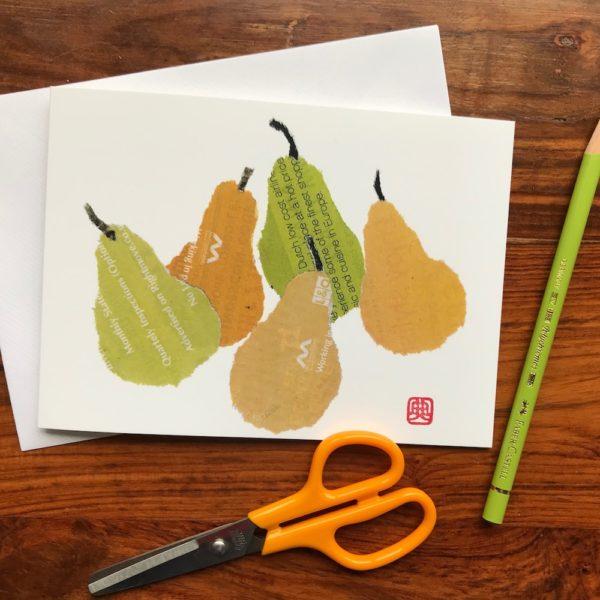 Pears Chigiri-e greeting card by Japanese artist Noriko Matsubara