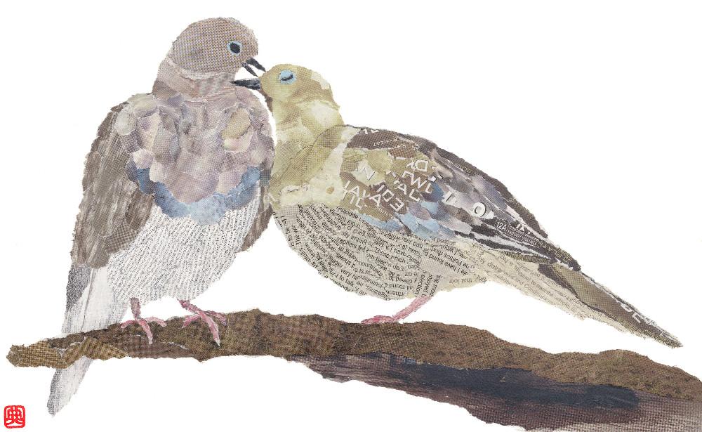 Pigeons, chigiri-e art, newspaper collage by Japanese artist Noriko Matsubara, 2011.