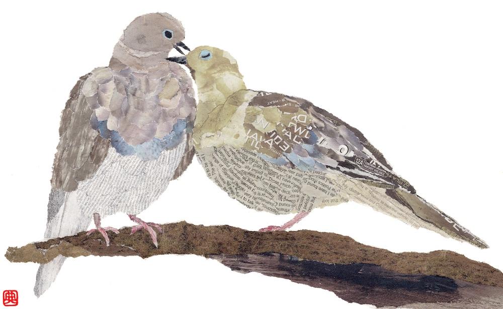 Chigiri-e Japanese Paper Collage Pigeons