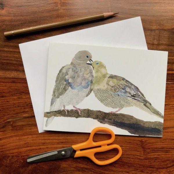 Pigeons Chigiri-e greeting card by Japanese artist Noriko Matsubara