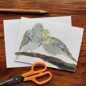 Pigeons Chigiri-e Card (S)