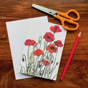 Poppies Chigiri-e Card (S)