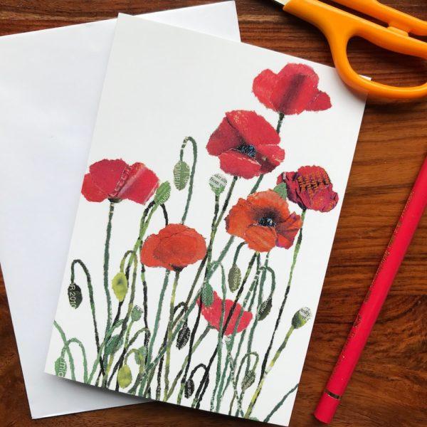 Poppies Chigiri-e greeting card by Japanese artist Noriko Matsubara